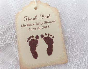 Personalized Baby Shower Tags Thank You Favor Tags Neutral Footprints Set of 10
