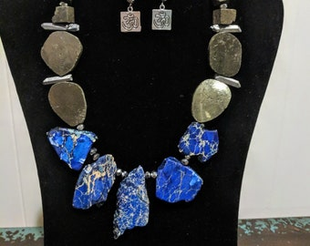 Blue turquoise, crystal, and pyrite necklace set
