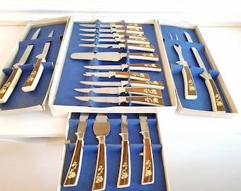 Vintage Stainless Knife Set, Regent Sheffield, 19 Pcs, English Cutlery Set, Vintage Knife Set, Steak Knives, Carving Knives, Serving Ware