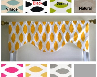 Window valance, lined window valance, window curtain, scalloped valance, lined valance, yellow, blue, green, gray, grey valance
