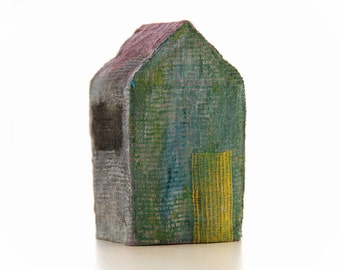 paper House and painted sculpture, miniature, home textile, hand made.