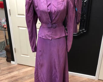 Purple file Victorian style dress and jacket with matching belt