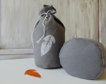 Linen fabric storage bag Kitchen Vegetable Produce Muslin Grocery Eco friendly Reusable food bag Leaf Hand print