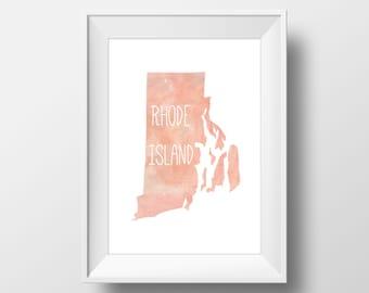 Rhode Island State Pink Watercolor Printable Art, Rhode Island Print, Rhode Island Art, Modern Art,