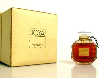 Vintage 1950s Joya by Myrurgia 0.25 oz Pure Parfum Extrait Crystal Perfume Bottle & Presentation Box