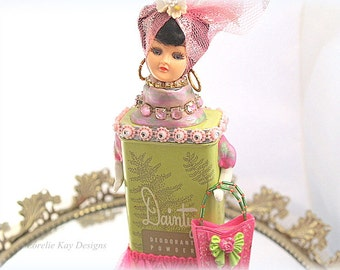 Danity Girl Art Doll Assemblage Sugar Sweet Mixed Media Sculpture Altered Talc Tin