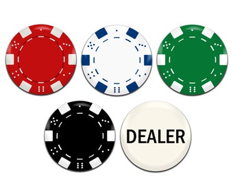 5x Poker Chips 25mm / 1 Inch D Pin Button Badges