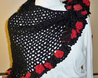 PDF Crochet Pattern for Black Shawl with Red roses