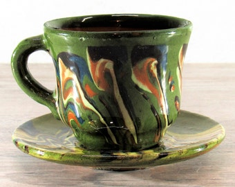 Old TLAQUEPAQUE MEXICO Worm Glaze Pottery Cup & Saucer Marbleized Green
