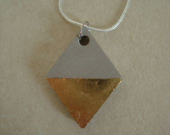 Concrete + gold leaf pendant necklace