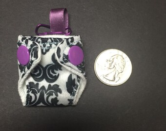 Tiny Diaper Keychain, Zipper Pull, Nursing Minder - Damask