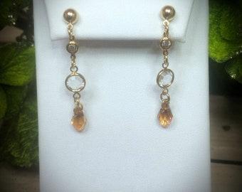 Swarovski Crystal Topaz Drop Earrings