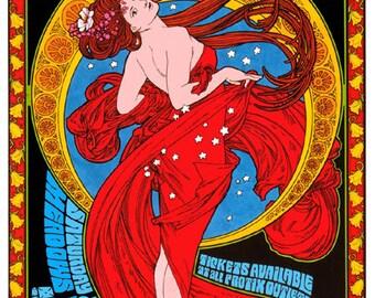 Bob Dylan & Paul Simon art nouveau psychedelic concert poster