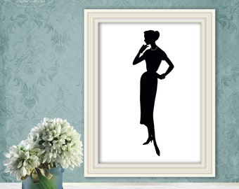Black and white Silhouette 50's woman print, Instant download, Digital print, Printable art wall decor