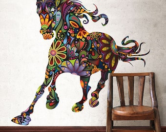 Wild Horse Decal for Walls - Colorful Floral Horse Wall Sticker Decor