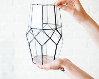 Geometric glass candle holder and vase Ornament. Amazing wedding table Decor