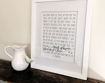 May you have peace within- St Therese quote  - Art Print - Hand Lettering - Be content with yourself - Lettered unframed print