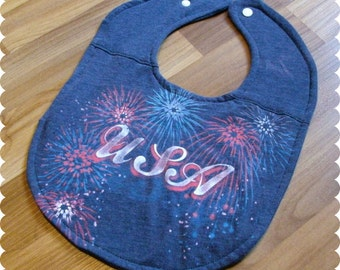 4th of July Baby Bib, Fireworks Recycled T-Shirt Baby Bib, Funny Baby Bib, Baby Shower Gift, First 4th of July