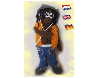 Crochet pattern Afro American boy James, Amigurumi doll crochet pattern, crocheted dolls pattern, amigurumi PDF pattern, Instant download