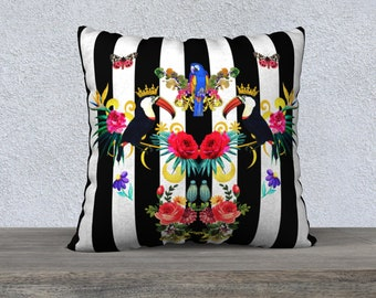 Toucan and Flowers Black & White Stripe Velveteen Cushion Cover - Throw Pillow Cover - Large Sofa Pillow - Black and White Decorative Pillow