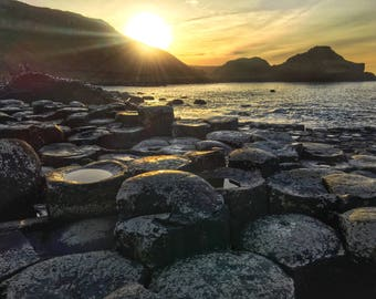 Giants Causeway at Sunset, Ireland Photography, Nature Photography, Sunset Photography, Sunset, Volcanic formation