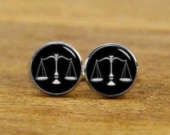 scales of justice cufflinks, scales of justice cuff links, Judge cufflinks, lawyer, wedding cufflinks, round, square cufflink, tie clips