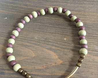 Green, Brown, and Gold Beaded Bracelet - Gold Tube Bracelet - Stackable Beaded Bracelet