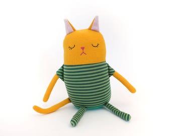 "Cat Sleepy Kitty in Pajamas ""Sidney"" Cotton Monster Plush"