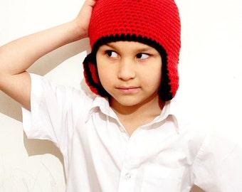 2T to 4T Red Earflap Hat Crochet Boy Toddler Hat Earflap Beanie Childs Hat Red Black Boys Hat Merino EarFlap Hat Prop