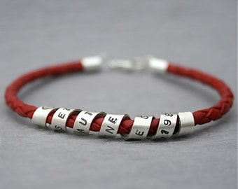 Personalized Secret Message Bracelet -Valentine's Day/Mom/Grandma/Nana/Aunt/Unisex/Dad/Father/Grandpa/Uncle - Sterling Silver - Leather -