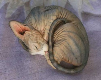 Sphynx Cat Resin UNPAINTED Figurine Blank Kit Unfinished Paint it Yourself Sleeping Sphynx Sculpture Gift for Cat Lover