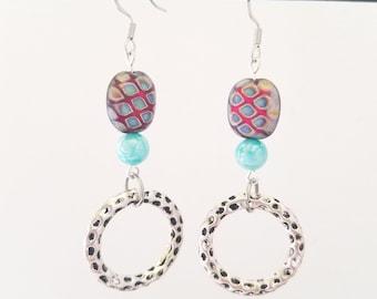 Purple Blue Earrings - Purple Dangle Earrings - Aqua Blue Earrings - Purple Silver Earrings - Bright Blue Bead - Funky Earrings Dangle