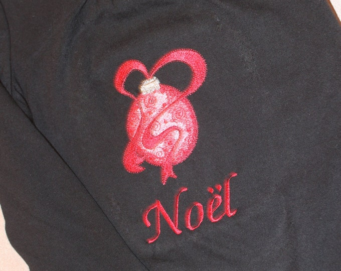 Noel Embroidered Christmas Bulb Shirt. Size 4T  Black Shirt with Red Lettering and Bulb.