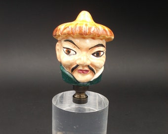 Custom Lamp Finial Featuring The Bust of An Asian Gentleman