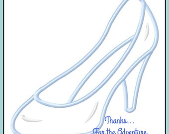 Princess Cinderella  Glass Slipper Applique Digital Embroidery Machine Design File 4x4 5x7 6x10