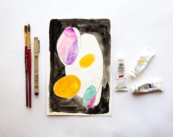 Original abstract watercolor, abstract shape art, original abstract painting on paper, original abstract painting, original art abstract