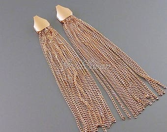 2 pcs rose gold 70mm extra long chain tassels, rose gold delicate chain tassels 2133-BRG-70