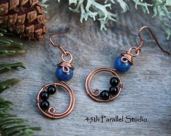 Lapis & Black Agate Earrings, Blue Earrings, Copper Earrings, Lapis Lazuli, Lapis Earrings, Agate Earrings, Lapis, Copper Jewelry, Agate