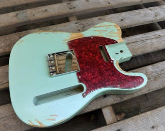 Canadian White Poplar Heavy Relic Seafoam Green Vintage Tele body fits oem nitrocellouse finish vintage telecaster guitar body