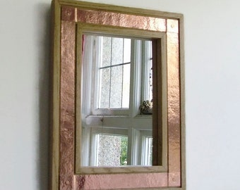 Oak & Copper Mirror,  Copper Mirror, Oak Mirror, Wall Mirror, Decorative Wall Mirror, Reclaimed wood, Wood Frame, Copper Frame, Metal Frame