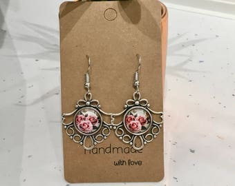 Roses Antique Silver Hook/Dangly Earrings