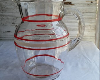 Vintage 1950's Lemonade Pitcher with White and Red Striping.  No Chips or Cracks. 100% intact.  Free Shipping in the USA.