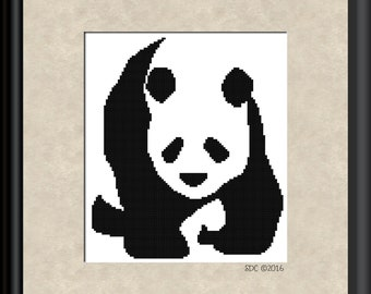 Pandas 004 - Walking Panda, Cross-Stitch Pattern, Pdf Zip File, Immediate Download, Great DIY Gift