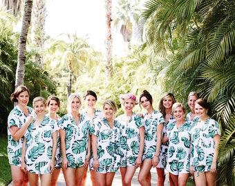 Maggie Pajama Set,  Bridesmaids Gift, Panama Palm - Code P043 + P005