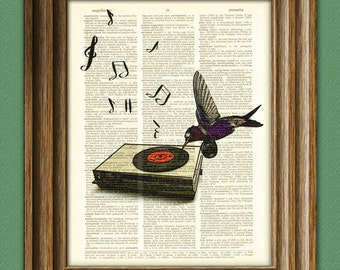 Hummingbird DJ Spins the Tunes beautifully upcycled vintage dictionary page book art print