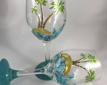 Hand Painted Ocean and Palm Tree Wine Glass