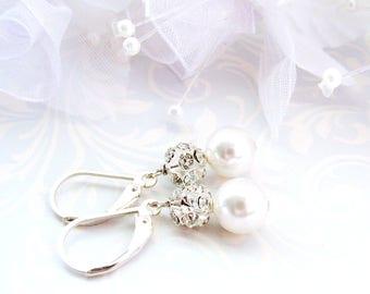 SWAROVSKI® Pearl Earrings & Rhinestones, CHOOSE Blue, White, Or Silver Pearls, Sterling Silver, Modern Vintage Style, On SALE, Ready To Ship