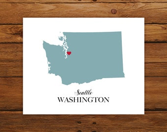 Washington State Love Map Silhouette 8x10 Print - Customized