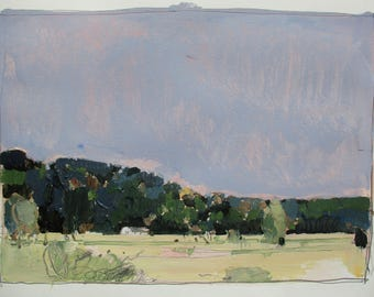 White Bungalow, Original Late Summer Landscape Painting on Paper, Stooshinoff