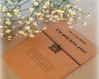 Make A Wish Bracelet / Charm Bracelet - I'm Sew Into You! Sewing, Sewing Lover Gift, Sewing Gift, Sewing Machine, Sewing Charm